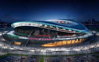 Стадион Рубин Арена Парк - ночью