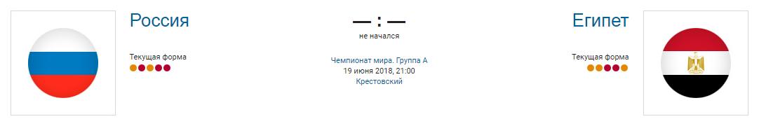 Россия - Египет ЧМ 2018