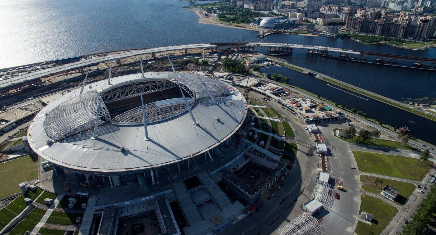 Стадион «Санкт-Петербург Арена» вид с птичьего полета